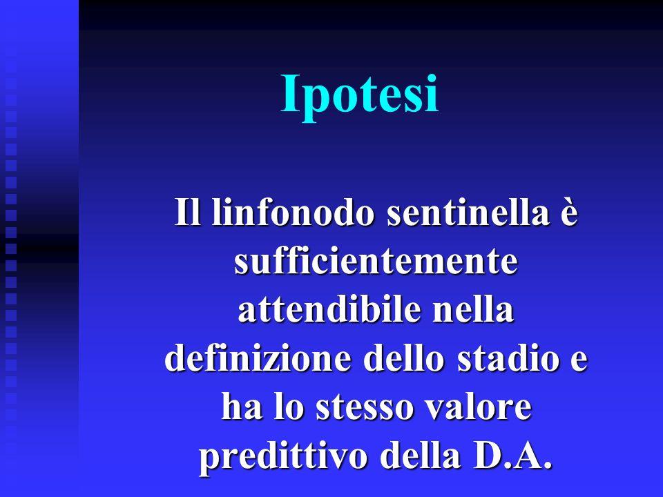 Ipotesi Il linfonodo sentinella è sufficientemente attendibile nella definizione dello stadio e ha lo stesso valore predittivo della D.A.
