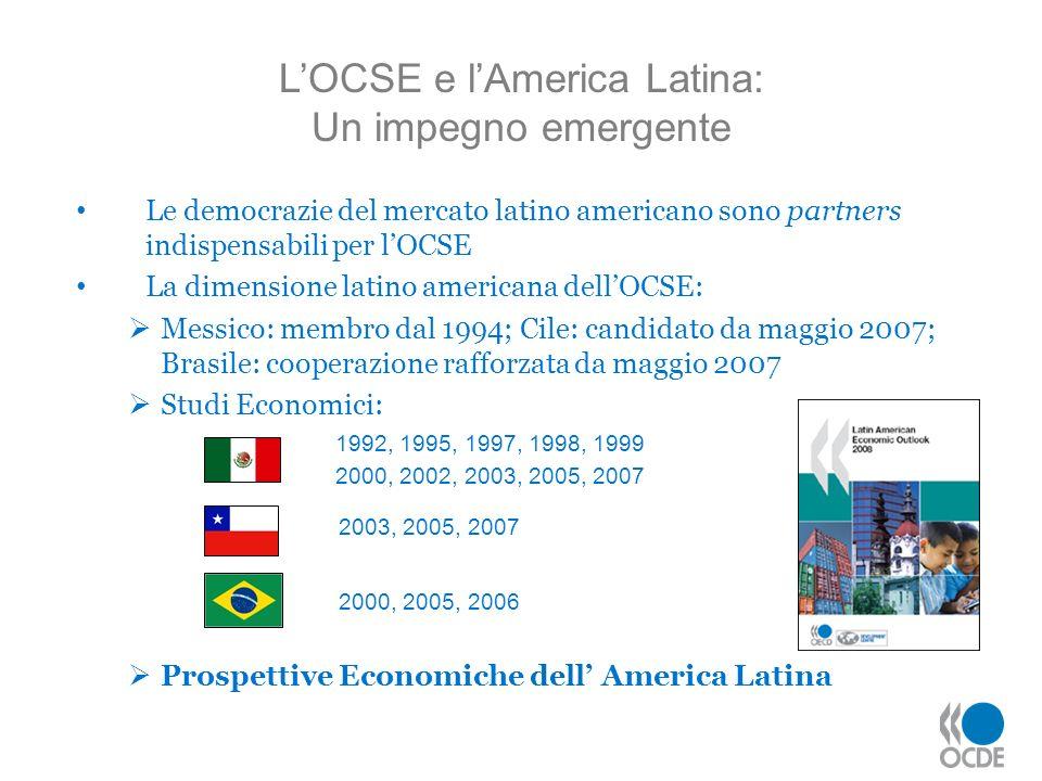 LOCSE e lAmerica Latina: Un impegno emergente Le democrazie del mercato latino americano sono partners indispensabili per lOCSE La dimensione latino a