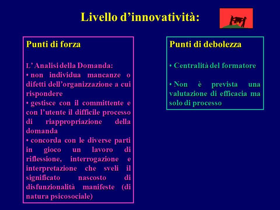 Livello dinnovatività: Punti di forza L Analisi della Domanda: non individua mancanze o difetti dellorganizzazione a cui rispondere non individua manc