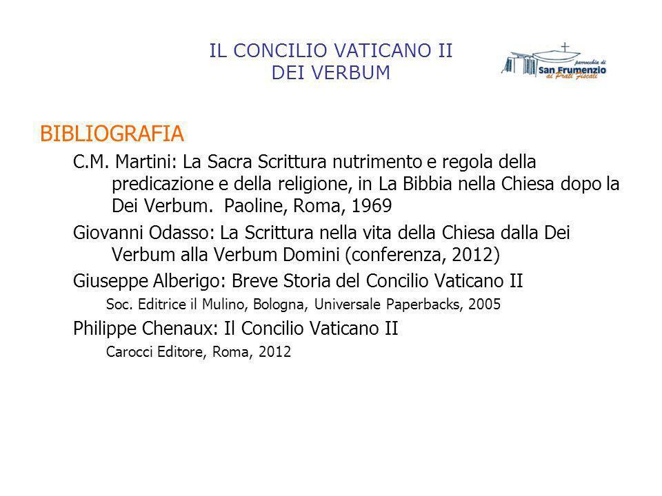 IL CONCILIO VATICANO II DEI VERBUM BIBLIOGRAFIA C.M. Martini: La Sacra Scrittura nutrimento e regola della predicazione e della religione, in La Bibbi