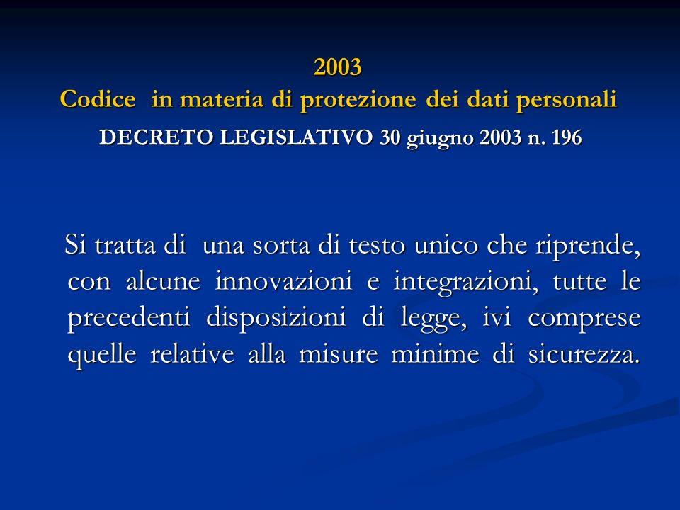 2003 Codice in materia di protezione dei dati personali DECRETO LEGISLATIVO 30 giugno 2003 n. 196 Si tratta di una sorta di testo unico che riprende,
