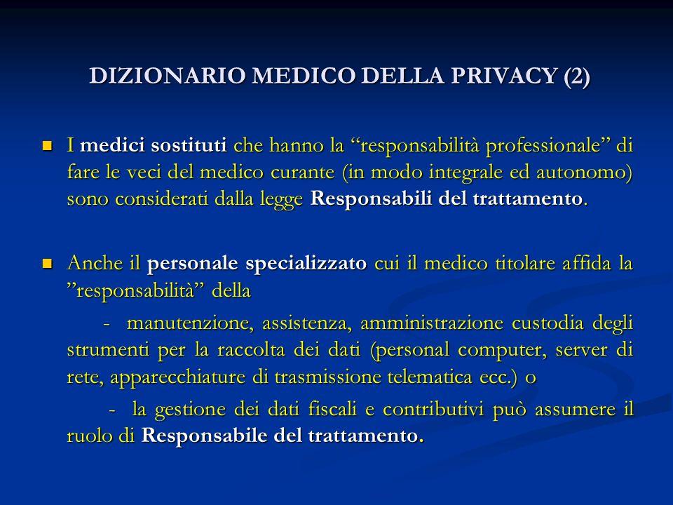 DIZIONARIO MEDICO DELLA PRIVACY (2) DIZIONARIO MEDICO DELLA PRIVACY (2) I medici sostituti che hanno la responsabilità professionale di fare le veci d