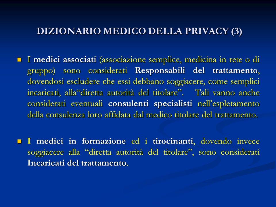 DIZIONARIO MEDICO DELLA PRIVACY (3) DIZIONARIO MEDICO DELLA PRIVACY (3) I medici associati (associazione semplice, medicina in rete o di gruppo) sono
