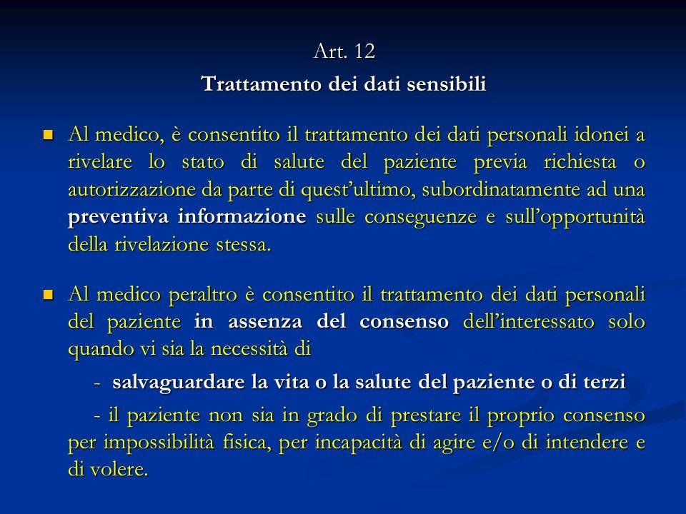 Art. 12 Trattamento dei dati sensibili Al medico, è consentito il trattamento dei dati personali idonei a rivelare lo stato di salute del paziente pre
