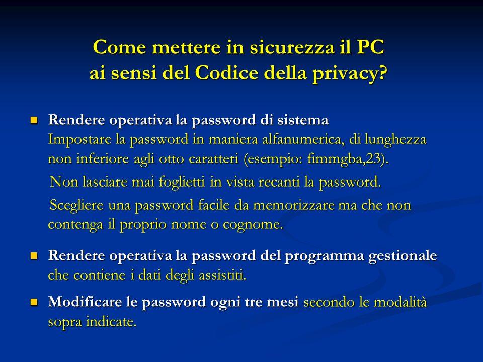 Come mettere in sicurezza il PC ai sensi del Codice della privacy? Rendere operativa la password di sistema Impostare la password in maniera alfanumer
