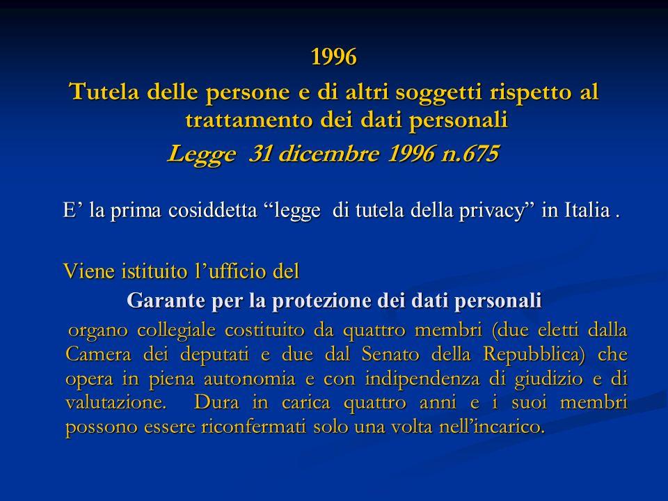1996 Tutela delle persone e di altri soggetti rispetto al trattamento dei dati personali Legge 31 dicembre 1996 n.675 Legge 31 dicembre 1996 n.675 E l