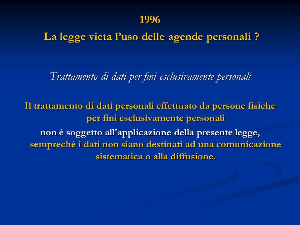 1996 La legge vieta luso delle agende personali ? La legge vieta luso delle agende personali ? Trattamento di dati per fini esclusivamente personali I