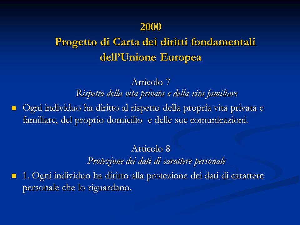 2000 Progetto di Carta dei diritti fondamentali Progetto di Carta dei diritti fondamentali dellUnione Europea Articolo 7 Rispetto della vita privata e