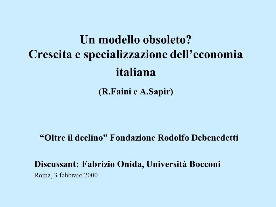 Un modello obsoleto? Crescita e specializzazione delleconomia italiana (R.Faini e A.Sapir) Oltre il declino Fondazione Rodolfo Debenedetti Discussant: