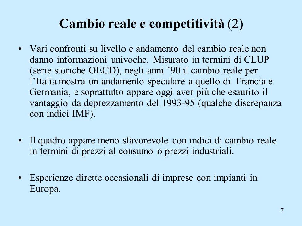 7 Cambio reale e competitività (2) Vari confronti su livello e andamento del cambio reale non danno informazioni univoche. Misurato in termini di CLUP