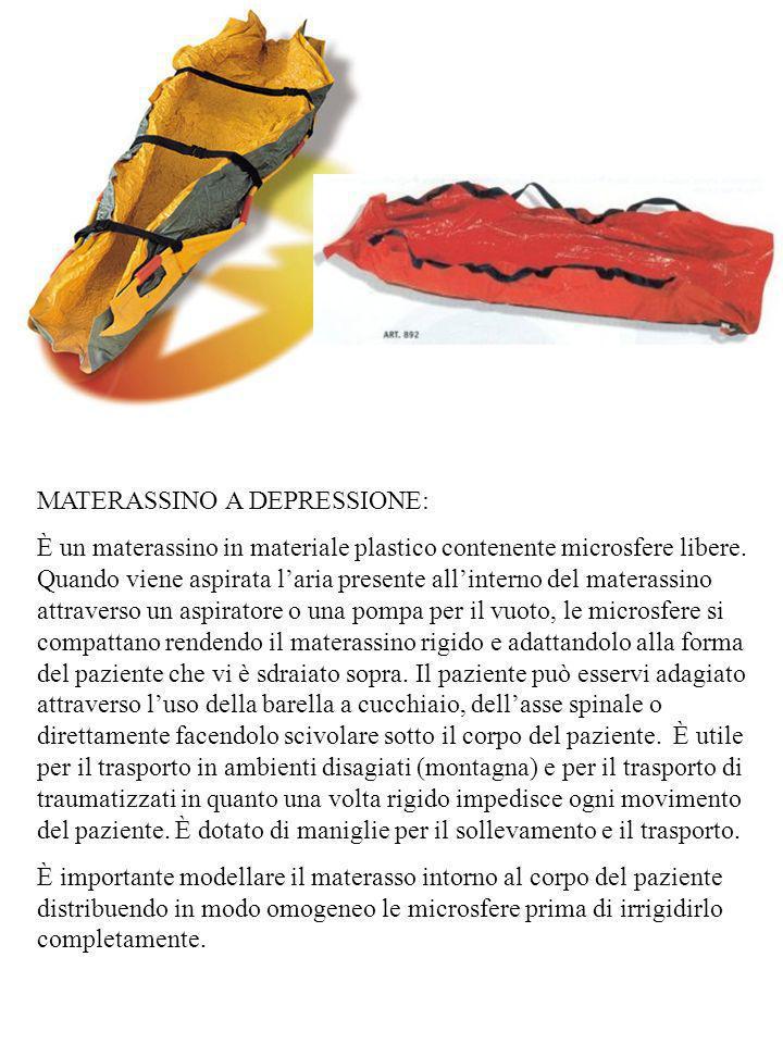 MATERASSINO A DEPRESSIONE: È un materassino in materiale plastico contenente microsfere libere. Quando viene aspirata laria presente allinterno del ma