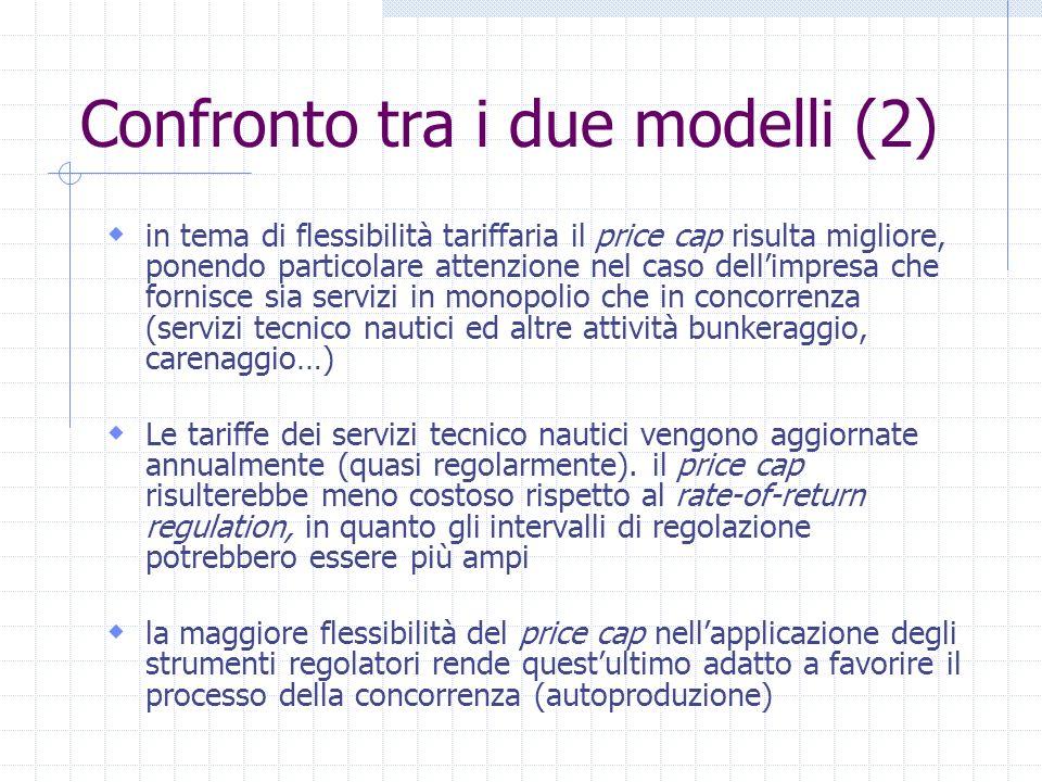 Confronto tra i due modelli (2) in tema di flessibilità tariffaria il price cap risulta migliore, ponendo particolare attenzione nel caso dellimpresa