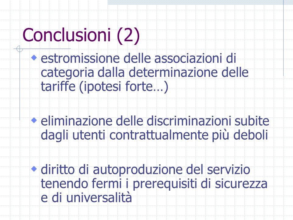 Conclusioni (2) estromissione delle associazioni di categoria dalla determinazione delle tariffe (ipotesi forte…) eliminazione delle discriminazioni s