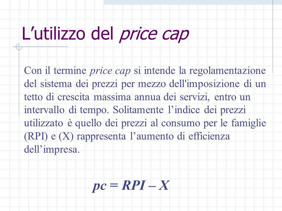 Lutilizzo del price cap pc = RPI – X Con il termine price cap si intende la regolamentazione del sistema dei prezzi per mezzo dell'imposizione di un t