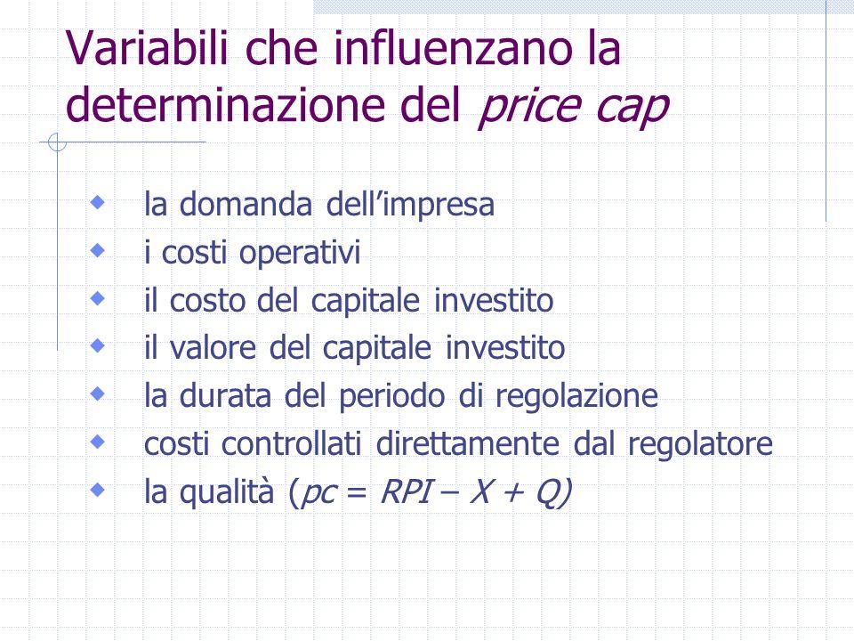 Variabili che influenzano la determinazione del price cap la domanda dellimpresa i costi operativi il costo del capitale investito il valore del capit
