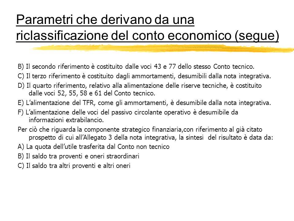 Parametri che derivano da una riclassificazione del conto economico (segue) B) Il secondo riferimento è costituito dalle voci 43 e 77 dello stesso Con