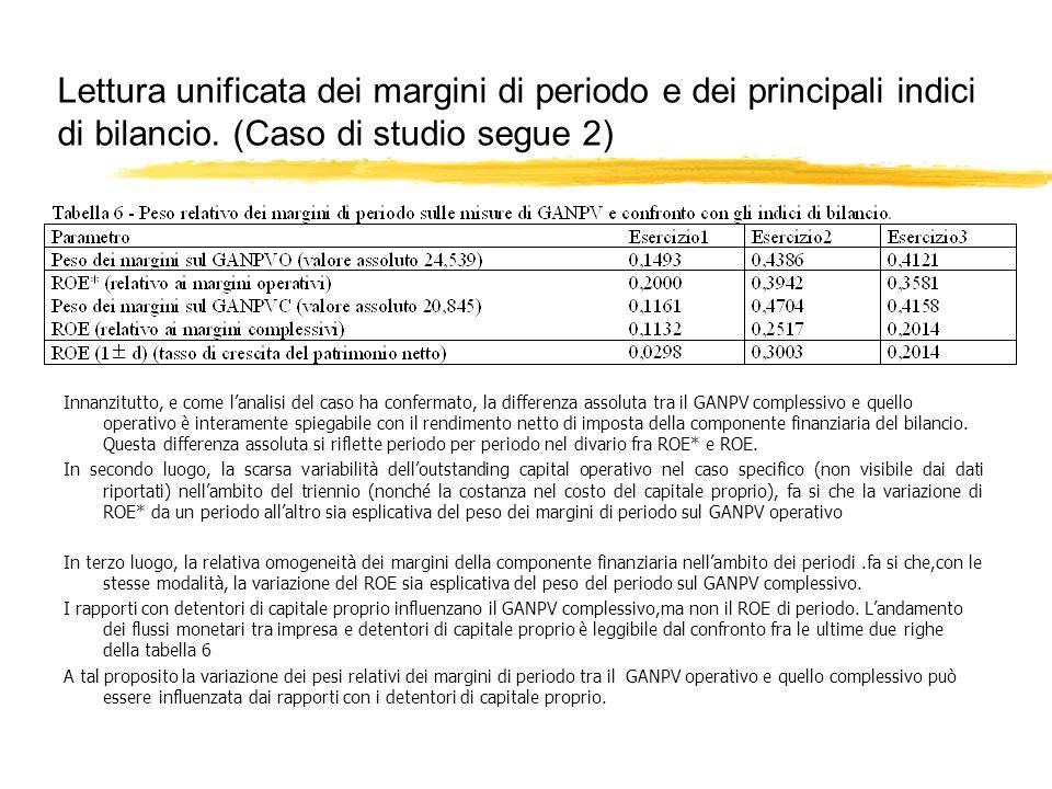 Lettura unificata dei margini di periodo e dei principali indici di bilancio. (Caso di studio segue 2) Innanzitutto, e come lanalisi del caso ha confe