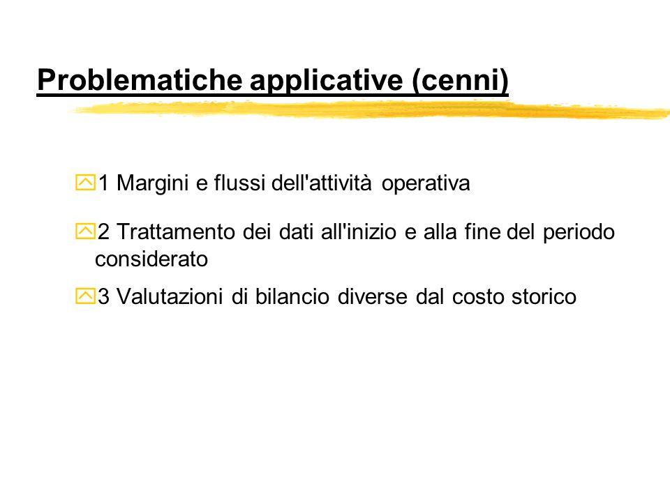 Problematiche applicative (cenni) y1 Margini e flussi dell'attività operativa y2 Trattamento dei dati all'inizio e alla fine del periodo considerato y