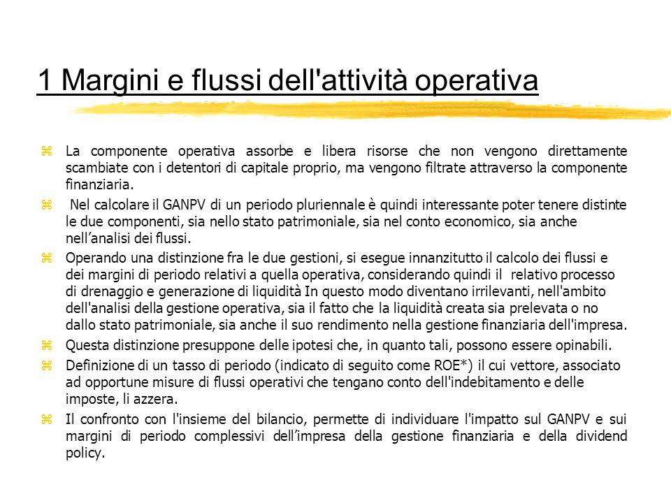 1 Margini e flussi dell'attività operativa zLa componente operativa assorbe e libera risorse che non vengono direttamente scambiate con i detentori di