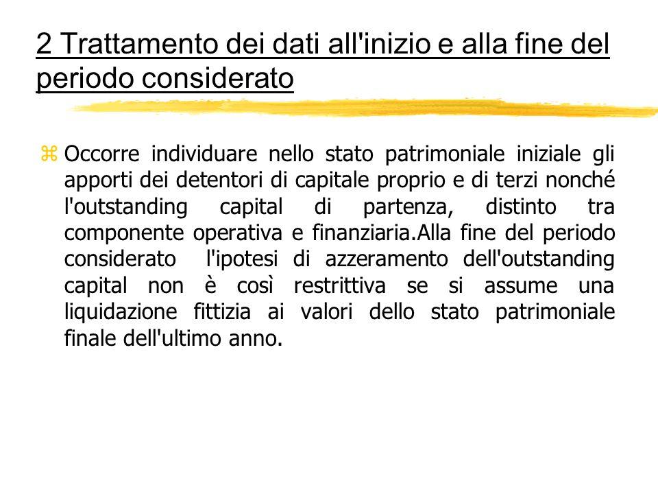 2 Trattamento dei dati all'inizio e alla fine del periodo considerato zOccorre individuare nello stato patrimoniale iniziale gli apporti dei detentori