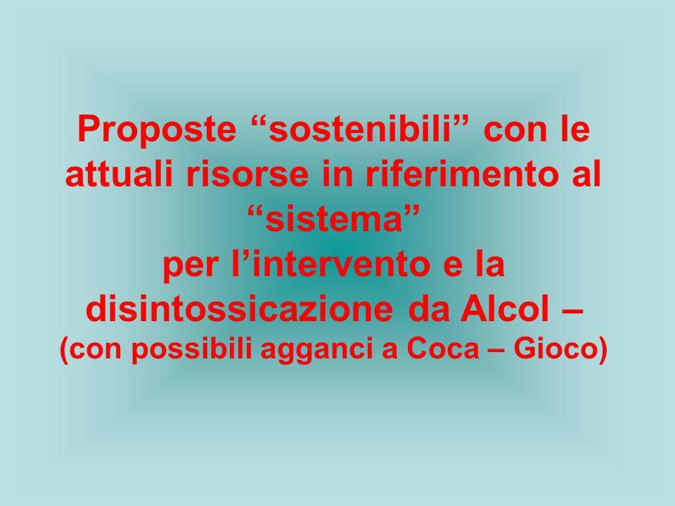 Proposte sostenibili con le attuali risorse in riferimento al sistema per lintervento e la disintossicazione da Alcol – (con possibili agganci a Coca