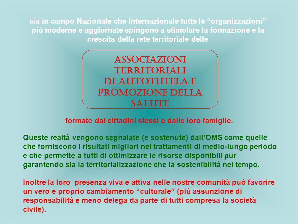 Associazioni Territoriali di Autotutela e Promozione della Salute sia in campo Nazionale che Internazionale tutte le organizzazioni più moderne e aggi