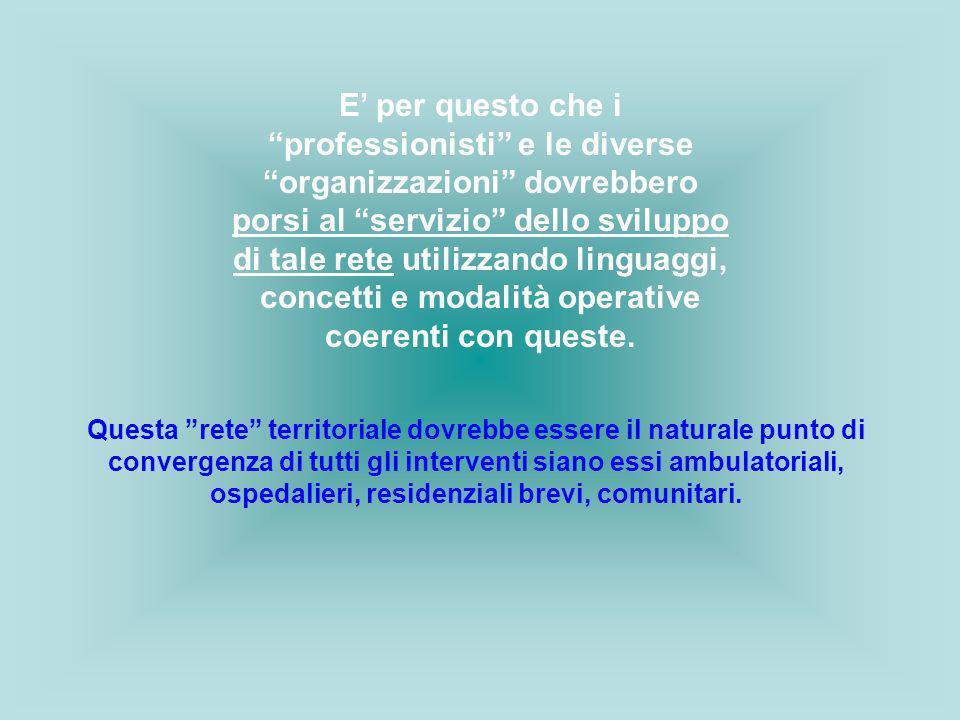 E per questo che i professionisti e le diverse organizzazioni dovrebbero porsi al servizio dello sviluppo di tale rete utilizzando linguaggi, concetti
