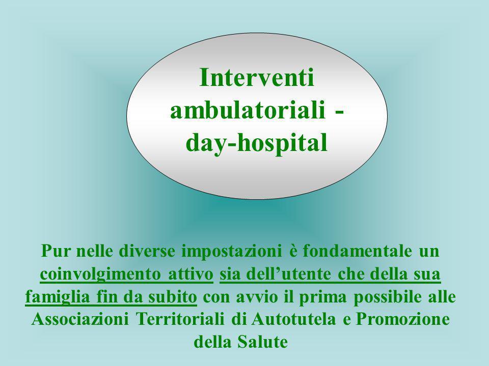 Interventi ambulatoriali - day-hospital Pur nelle diverse impostazioni è fondamentale un coinvolgimento attivo sia dellutente che della sua famiglia f