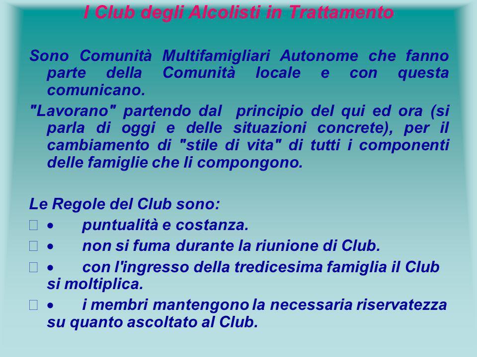 I Club degli Alcolisti in Trattamento Sono Comunità Multifamigliari Autonome che fanno parte della Comunità locale e con questa comunicano.