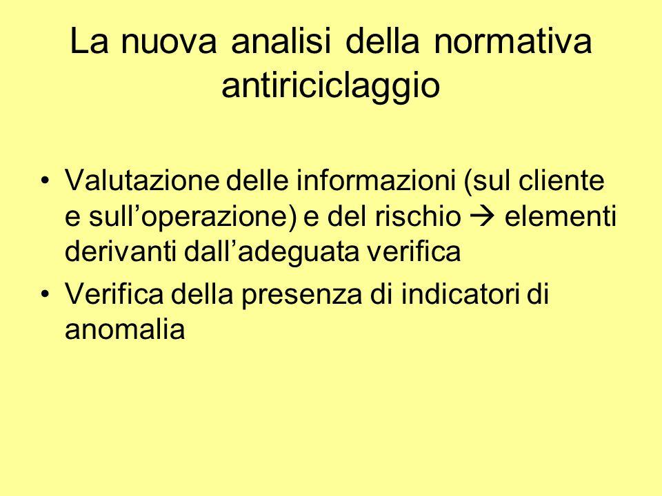 La nuova analisi della normativa antiriciclaggio Valutazione delle informazioni (sul cliente e sulloperazione) e del rischio elementi derivanti dalladeguata verifica Verifica della presenza di indicatori di anomalia