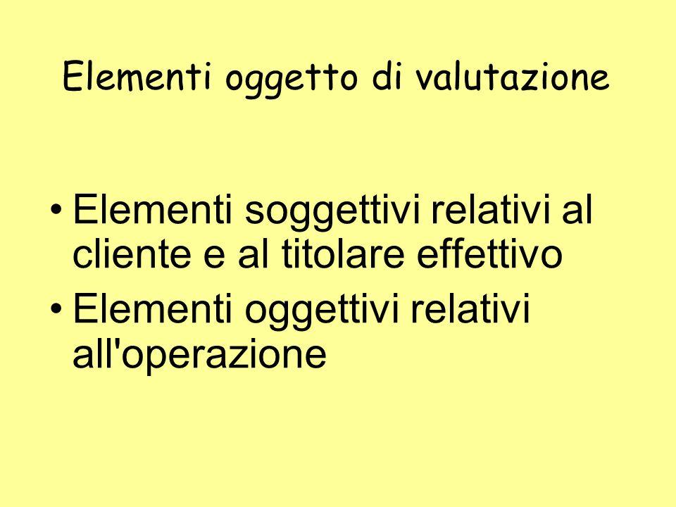 Elementi oggetto di valutazione Elementi soggettivi relativi al cliente e al titolare effettivo Elementi oggettivi relativi all'operazione