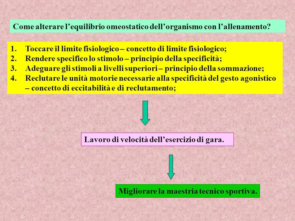 Come alterare lequilibrio omeostatico dellorganismo con lallenamento? 1.Toccare il limite fisiologico – concetto di limite fisiologico; 2.Rendere spec