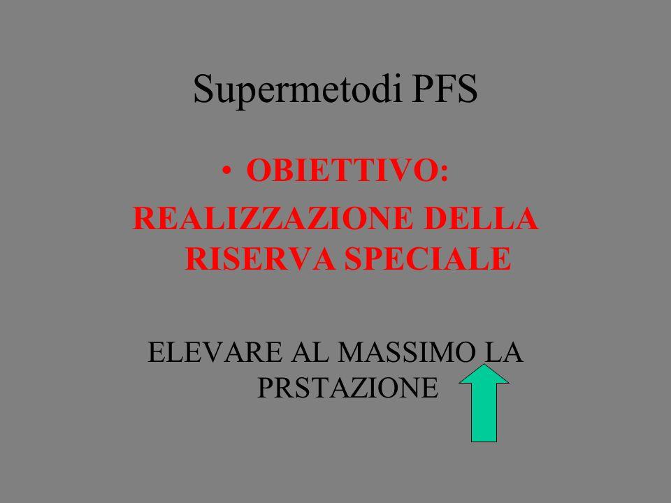 Supermetodi PFS OBIETTIVO: REALIZZAZIONE DELLA RISERVA SPECIALE ELEVARE AL MASSIMO LA PRSTAZIONE