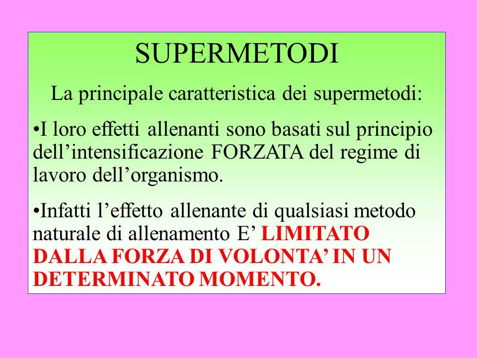 SUPERMETODI La principale caratteristica dei supermetodi: I loro effetti allenanti sono basati sul principio dellintensificazione FORZATA del regime d