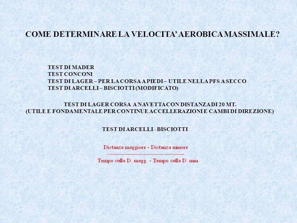 COME DETERMINARE LA VELOCITA AEROBICA MASSIMALE? TEST DI MADER TEST CONCONI TEST DI LAGER – PER LA CORSA A PIEDI – UTILE NELLA PFS A SECCO TEST DI ARC