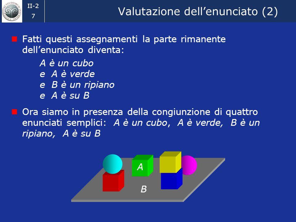 II-2 6 Valutazione dellenunciato Un enunciato della forma esistono due individui, x e y, tali che:... è vero se, e solo se, possiamo assegnare due ind