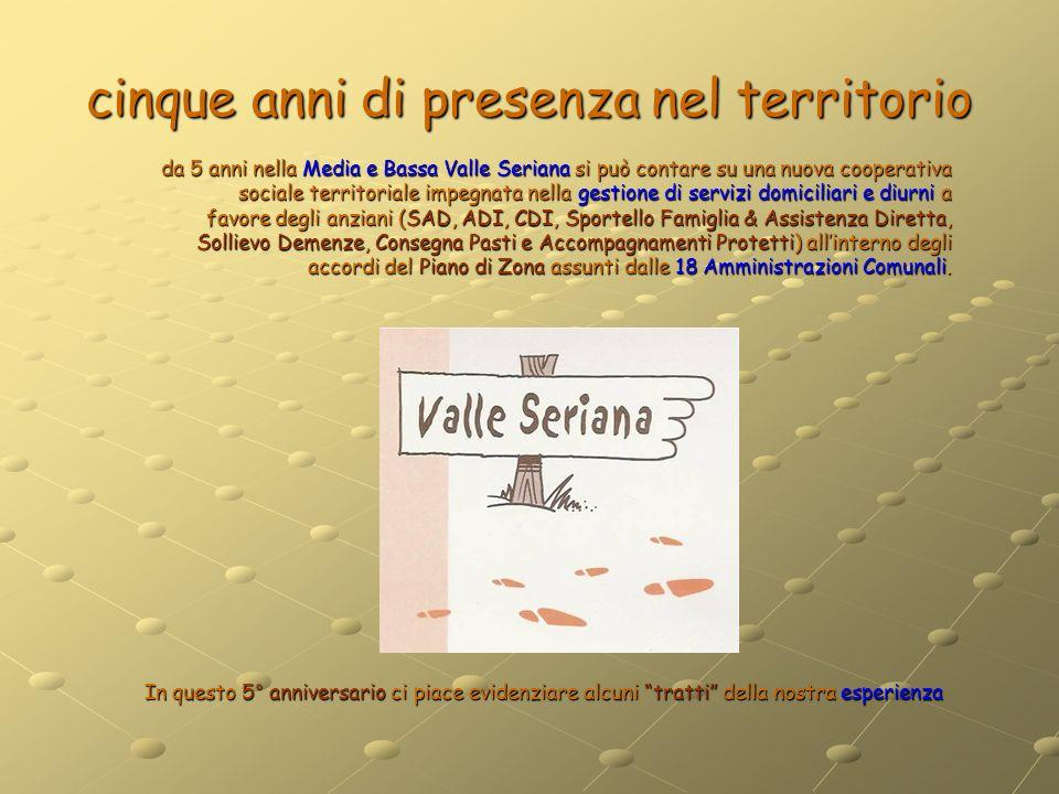 cinque anni di presenza nel territorio da 5 anni nella Media e Bassa Valle Seriana si può contare su una nuova cooperativa sociale territoriale impegn