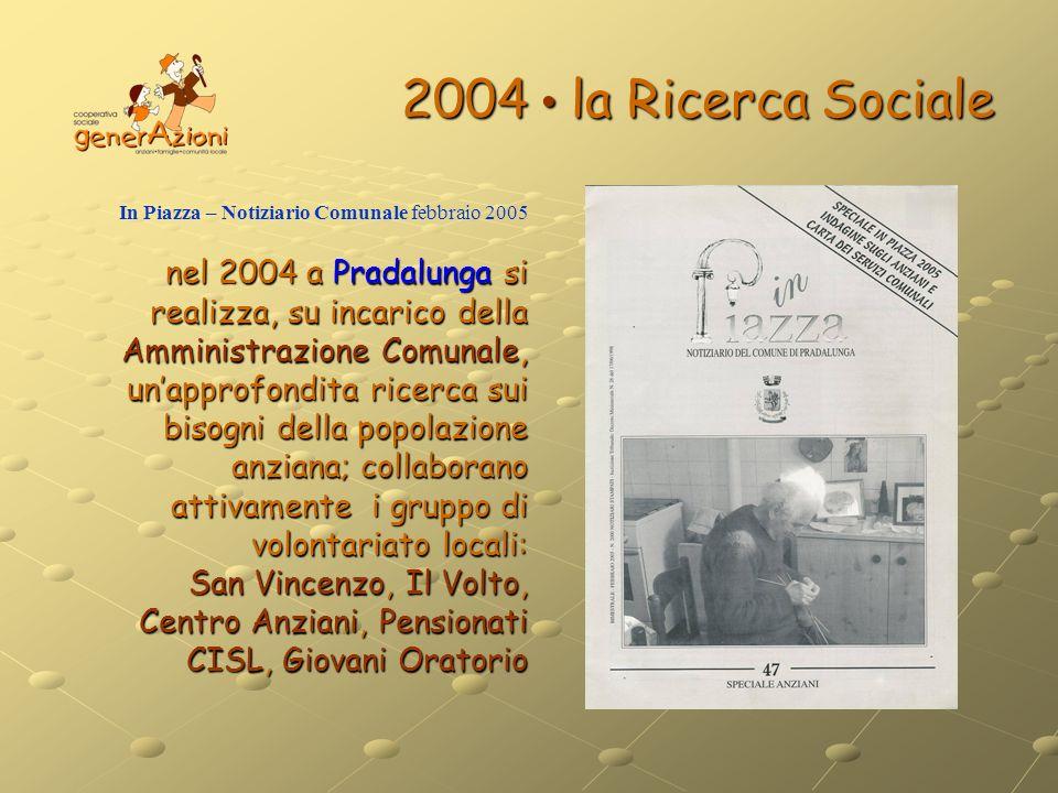 2004 la Ricerca Sociale In Piazza – Notiziario Comunale febbraio 2005 nel 2004 a Pradalunga si realizza, su incarico della Amministrazione Comunale, u