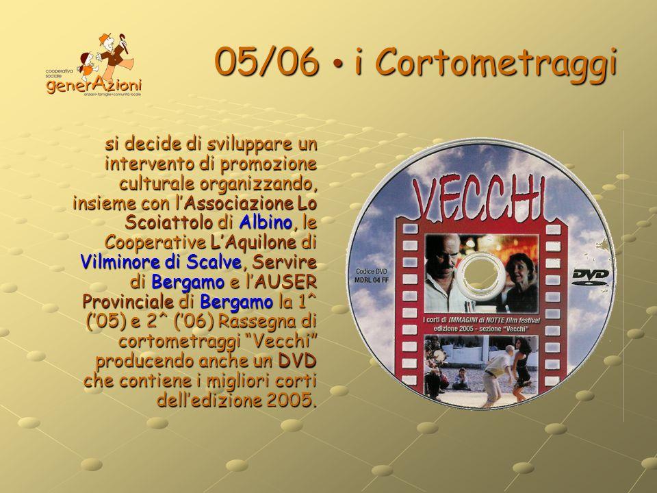 05/06 i Cortometraggi si decide di sviluppare un intervento di promozione culturale organizzando, insieme con lAssociazione Lo Scoiattolo di Albino, l