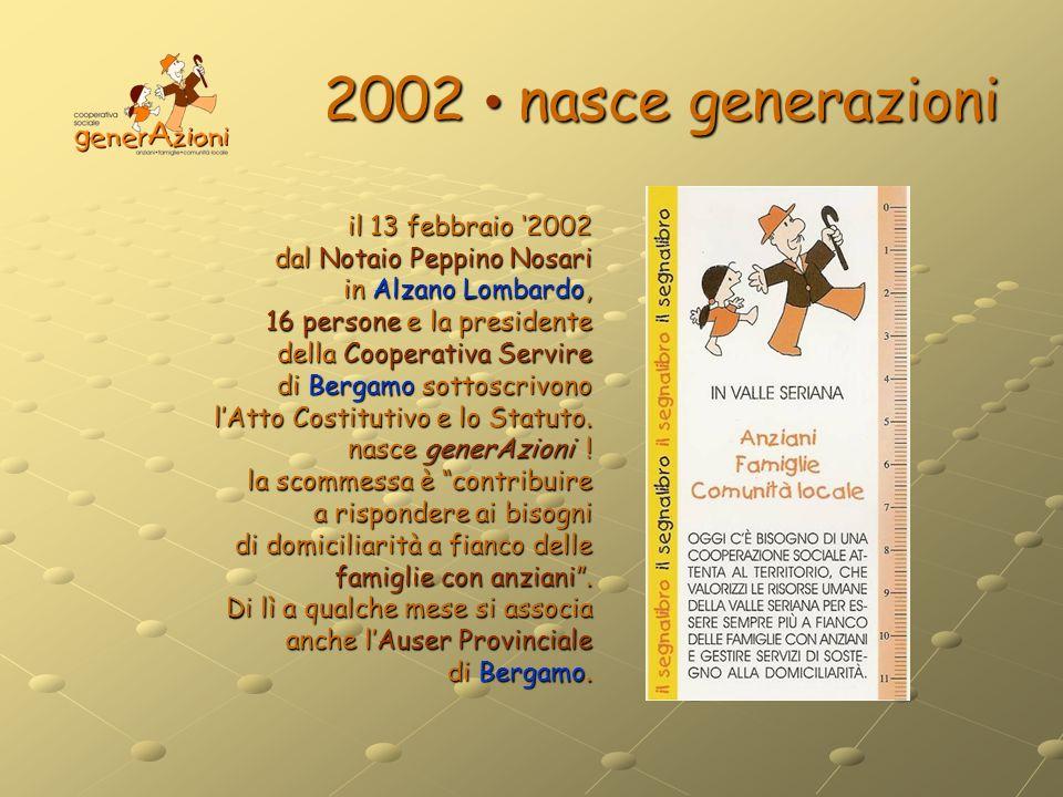 2002 nasce generazioni il 13 febbraio 2002 dal Notaio Peppino Nosari in Alzano Lombardo, 16 persone e la presidente della Cooperativa Servire di Berga