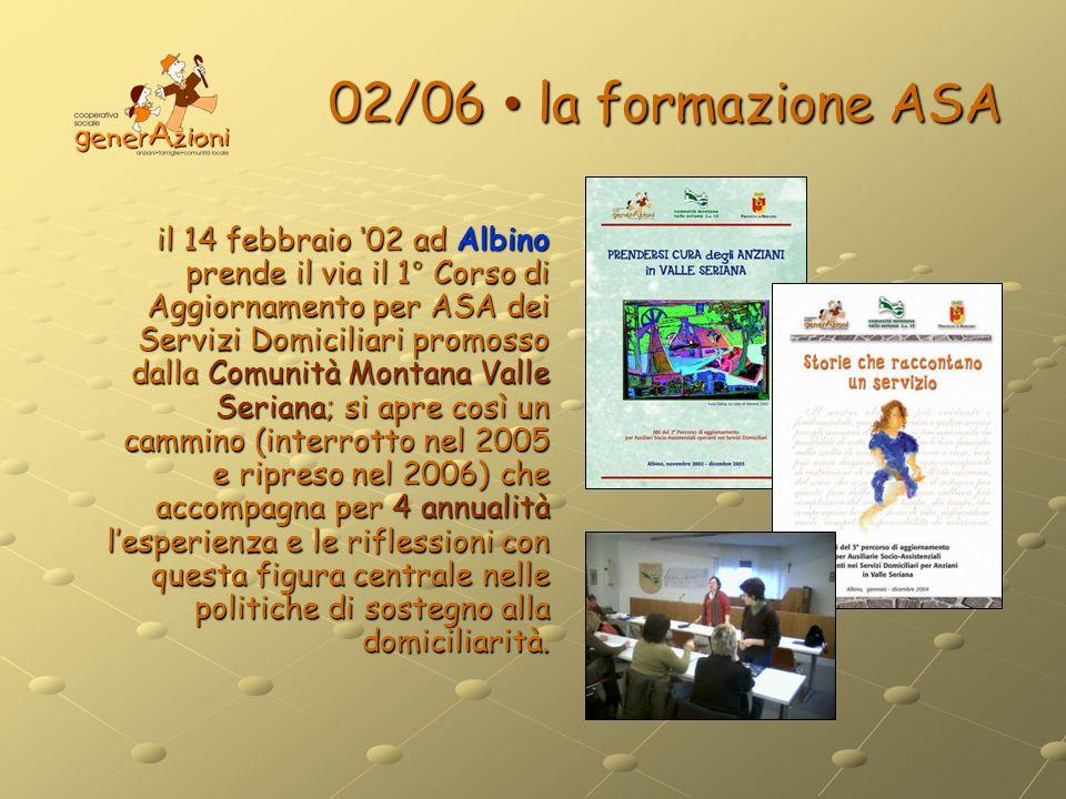 02/06 la formazione ASA il 14 febbraio 02 ad Albino prende il via il 1° Corso di Aggiornamento per ASA dei Servizi Domiciliari promosso dalla Comunità