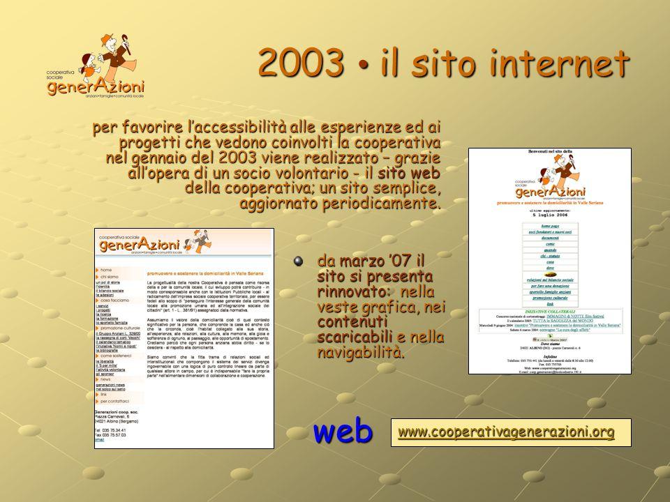2003 il sito internet per favorire laccessibilità alle esperienze ed ai progetti che vedono coinvolti la cooperativa nel gennaio del 2003 viene realiz