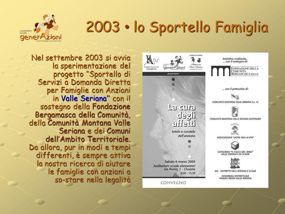 2003 lo Sportello Famiglia Nel settembre 2003 si avvia la sperimentazione del progetto Sportello di Servizi a Domanda Diretta per Famiglie con Anziani