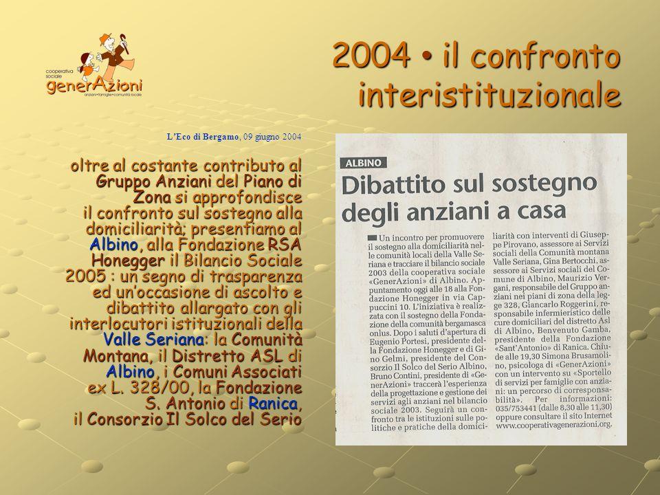 2004 il confronto interistituzionale LEco di Bergamo, 09 giugno 2004 oltre al costante contributo al Gruppo Anziani del Piano di Zona si approfondisce