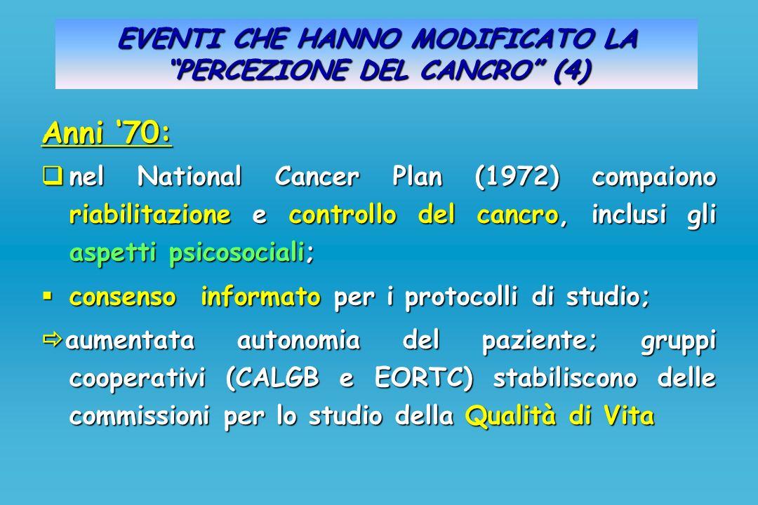 EVENTI CHE HANNO MODIFICATO LA PERCEZIONE DEL CANCRO (4) Anni 70: nel National Cancer Plan (1972) compaiono riabilitazione e controllo del cancro, inc