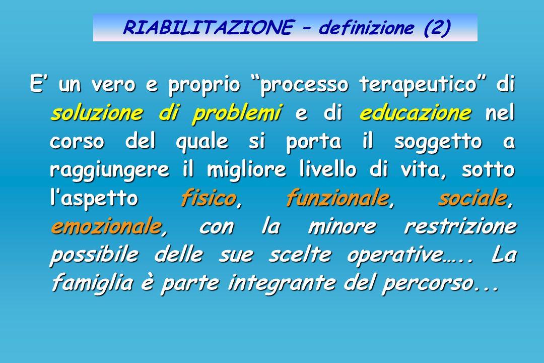 RIABILITAZIONE – definizione (2) E un vero e proprio processo terapeutico di soluzione di problemi e di educazione nel corso del quale si porta il sog