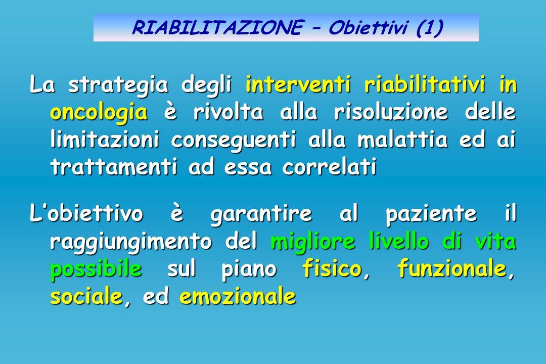 RIABILITAZIONE – Obiettivi (1) La strategia degli interventi riabilitativi in oncologia è rivolta alla risoluzione delle limitazioni conseguenti alla