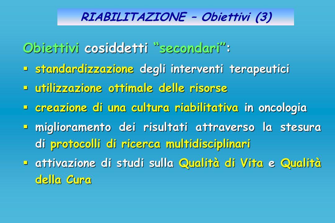 RIABILITAZIONE – Obiettivi (3) Obiettivi cosiddetti secondari: standardizzazione degli interventi terapeutici standardizzazione degli interventi terap