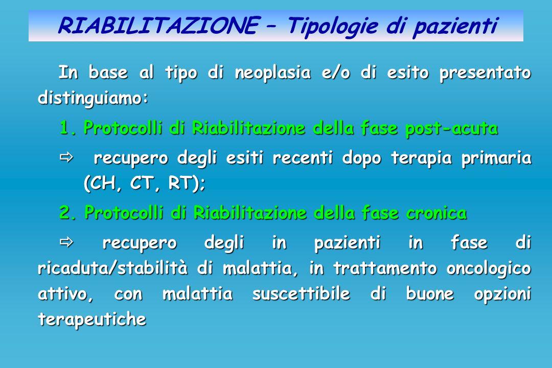 RIABILITAZIONE – Tipologie di pazienti In base al tipo di neoplasia e/o di esito presentato distinguiamo: 1.Protocolli di Riabilitazione della fase po