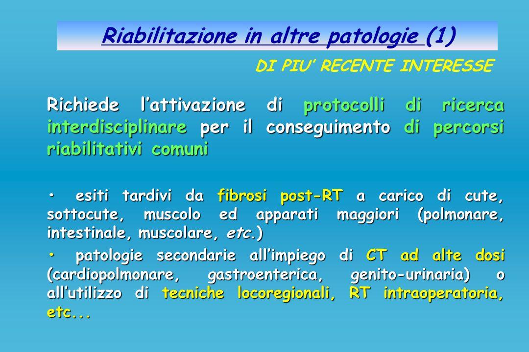 Riabilitazione in altre patologie (1) Richiede lattivazione di protocolli di ricerca interdisciplinare per il conseguimento di percorsi riabilitativi
